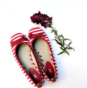 Red and White Striped Flats